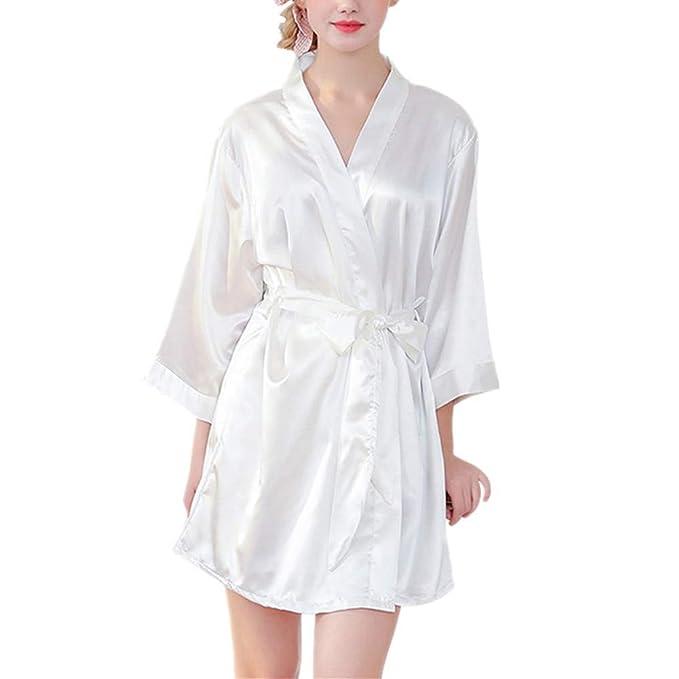 4c1ee937a Fansu Kimono Albornoz De Seda Ropa, Mujer Bata Novia Casa De Estilo Saten  Batas Cortos