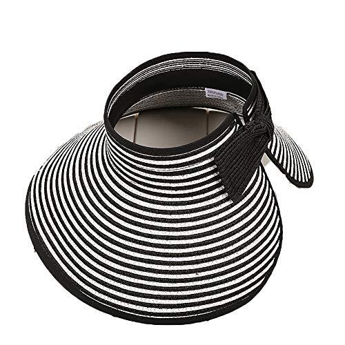 561f39bdc09ef Women s Summer Foldable Straw Sun Visor w Cute Bowtie UPF 50+ Packable Wide  Brim Roll-Up Visor Beach Hat