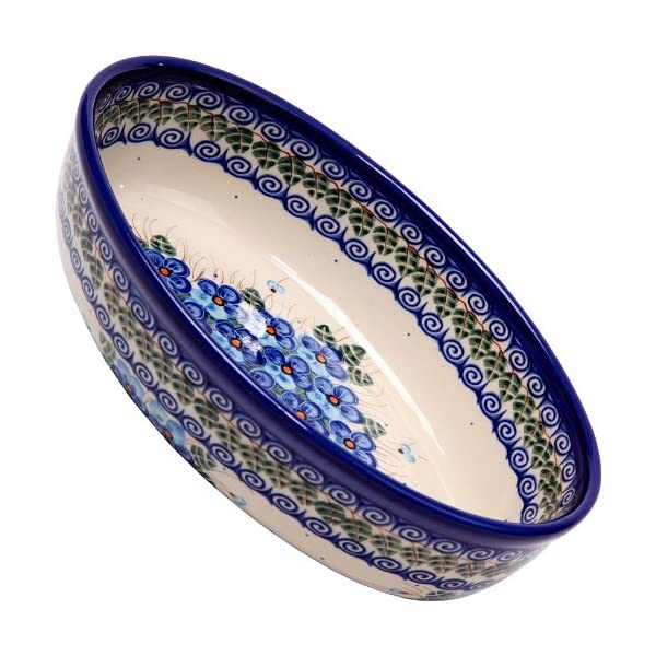 Polish Pottery Ceramika Boleslawiec, 1210/162, Oval Mirek Baker 2, 9 2/3 by 6 7/10 Inches – 5 Cups, Royal Blue Patterns with Blue Pansy Flower Motif