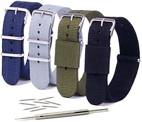 Vetoo 20mm Watch Bands,Nato Nylon Replacement Watch Strap with Metal Buckle for Men or Women, Pack of 4