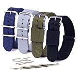 20mm/22mm Watch Bands Nylon, Vetoo Premium Ballistic Nylon Straps, NATO Replacement Wristband with Adjustable Metal Clasp for Men Women, 4 Packs