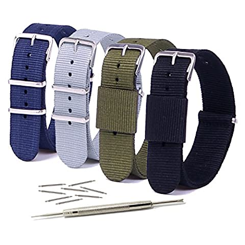 Vetoo 20mm Watch Bands,Nato Nylon Replacement Watch Strap with Metal Buckle for Men or Women, Pack of (Watch Strap Ring)