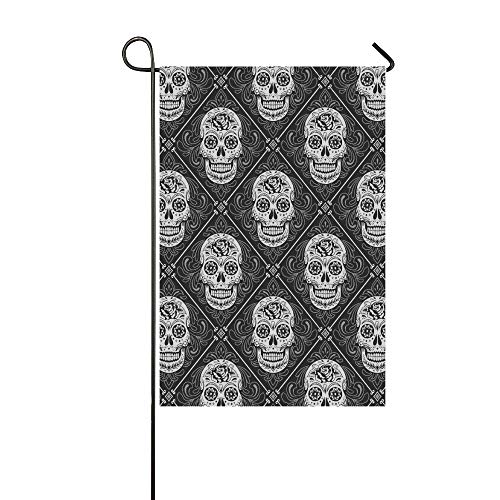 ZXWXNLA Home Decorative Outdoor Double Sided Day of The Dead Wallpaper Pattern Garden Flag,House Yard Flag,Garden Yard Decorations,Seasonal Welcome Outdoor Flag 12 X 18 Inch Spring Summer Gift -