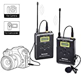 Wireless Lavalier Microphone System, Saramonic UwMic15 UHF 16 Channel Omnidirectional Lap Mic for DSLR Camra,Camcorder Canon 5D II/5D III, Canon 6D, Panasonic GH5/GH4, Nikon,Panasonic