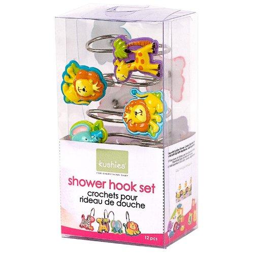 Kushies Baby Jungle Themed Shower Hooks, 4-Piece EZ2406