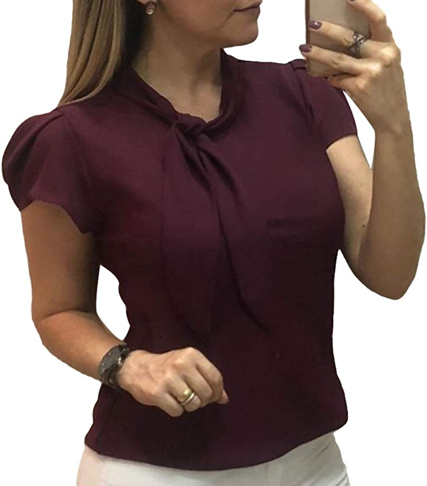 Lightweight And Durable,Elegant Solid Color Lady Short Sleeve Bow Chiffon Shirt Office Summer Blouse Top Infgreate Warm