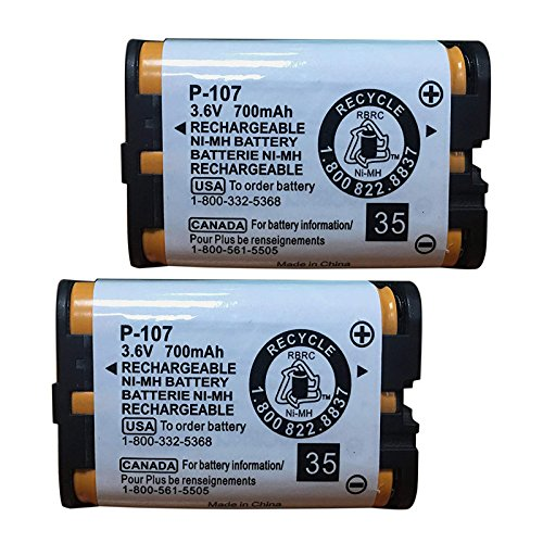 - QBLPOWER HHRP107 Rechargeable Batteries Compatible with for Panasonic HHR-P107 HHR-P107A HHRP107A Cordless Phone 3.6v 700mAh Ni-MH(Pack of 2)