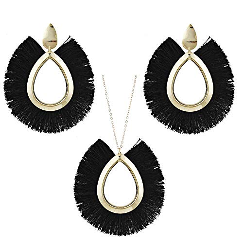 Tuoke-peri Colorful Handmade Tassel Earrings Necklace Jewelry Sets Bohemian Fan-Shaped Drop Fashion Earrings Pendant Necklace for Women and Girls (5 Black) ()