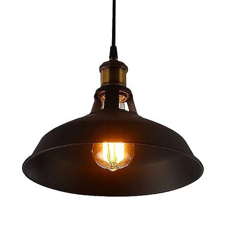 Industrial Lámpara Vintage Colgante, CMYK Negro Metal Lámpara de Techo Iluminación Decorativa para Cocina, Restaurante, Cafetería, Sala(E27, No Hay ...