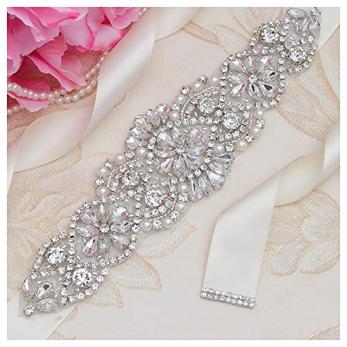 Yanstar Ivory Sash Crystal Applique Wedding Bridal Belts In Silver With Pearls Beaded On Wedding Prom -