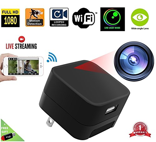 DENT 1080P USB Charger Camera WiFi - HD Live Streaming Video Camcorder with Motion Detection, Pet Nanny Security Cam, USB AC Wall Plug Adapter for Phone, Remote View, Support 128GB SD
