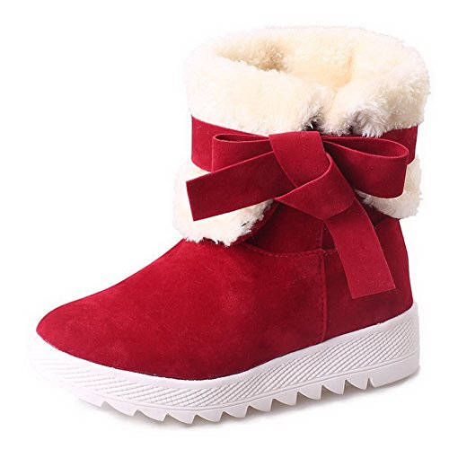 AN A&N Womens Boots Snow Boots Waterproof Nubuck Bootie Low-Top Outdoor Soft-Toe Nubuck Manmade Fringed Urethane Boots DKU01789 Red vaRWXoI59
