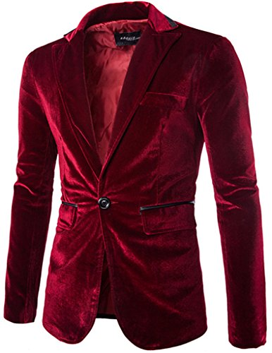 Porlox Mens Slim Fit Peaked Lapel 1 Button Velvet Blazer Jacket Red,US L / Label XXL (Peaked Lapel Jacket)