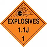 Accuform Signs MPL18VP50 Plastic Hazard Class 1/Division 1J DOT Placard, Legend ''EXPLOSIVES 1.1J 1'' with Graphic, 10-3/4'' Width x 10-3/4'' Length, Black on Orange (Pack of 50)