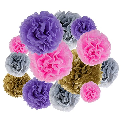 VIDAL CRAFTS 20 Pcs Party Tissue Paper Pom Poms Kit, 14