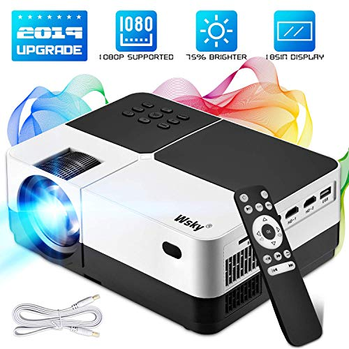 Home Led Theater (Wsky Portable Home Theater Projector - Best 84-LED Outdoor Movie Projector - Support 1080P - Compatible with Fire TV Stick, PS4, HDMI, VGA, AV and USB)