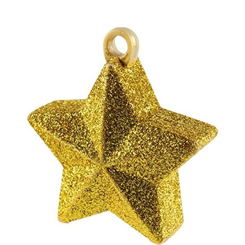 Amscan Twinkle Star Glittered Balloon Weight Party Decoration, Gold, Plastic Foil, 6.0 Ounces