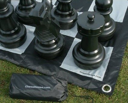 Chess House Premium Giant Chess Set (25 inch King) with Quick Fold Nylon Giant Chess Mat Chess board by Chess House