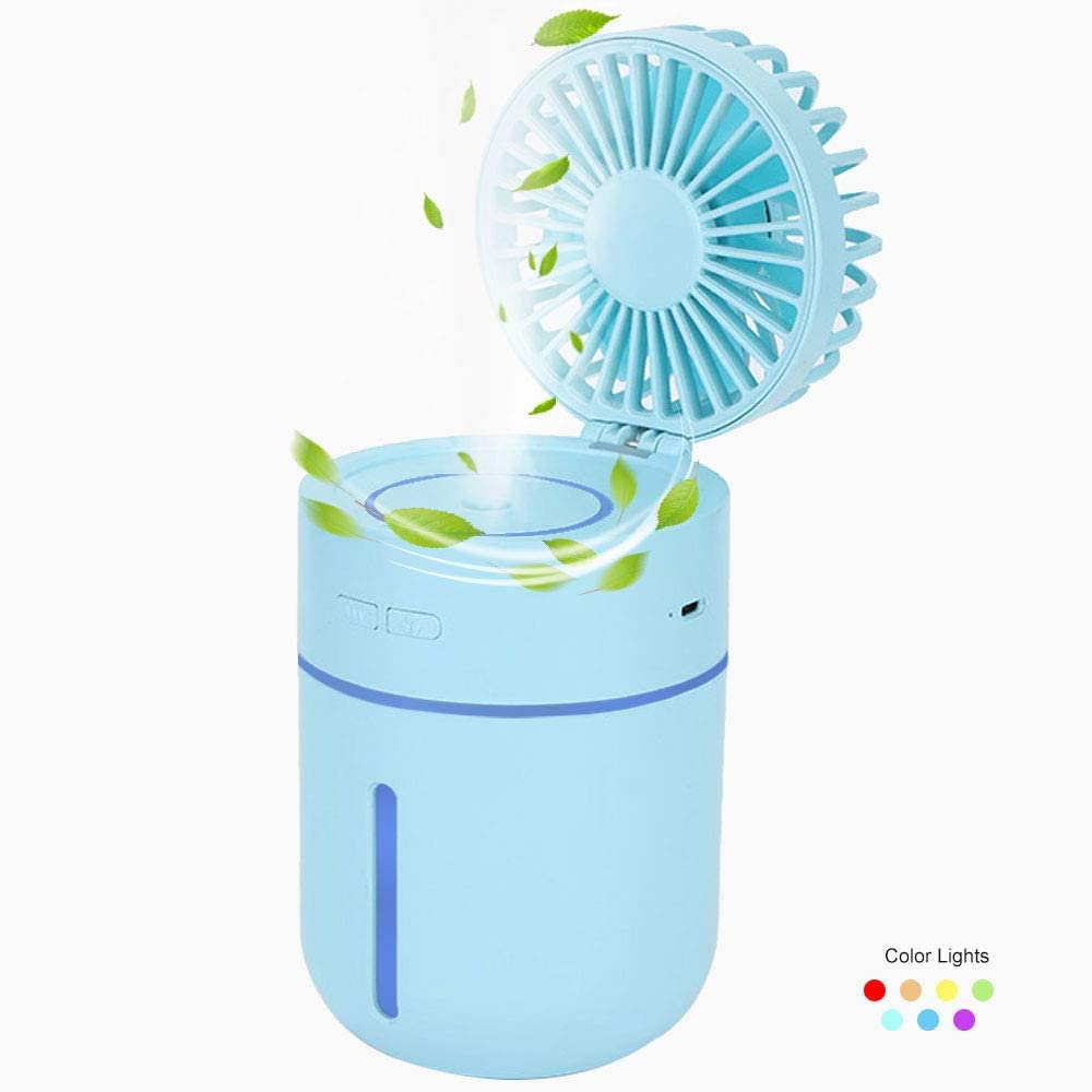 Portable Handheld Misting Fan, Lowki USB Rechargeable, Adjustable Speed Angle, Personal Desktop Air Humidifiers Spray Fan with Night Light for Outdoor Travel Home Office