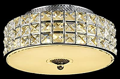 New Galaxy Modern LED Crystal Chandelier Flush Mount Ceiling Lighting Fixture, 2 light colors in one Smart Lamp, #106