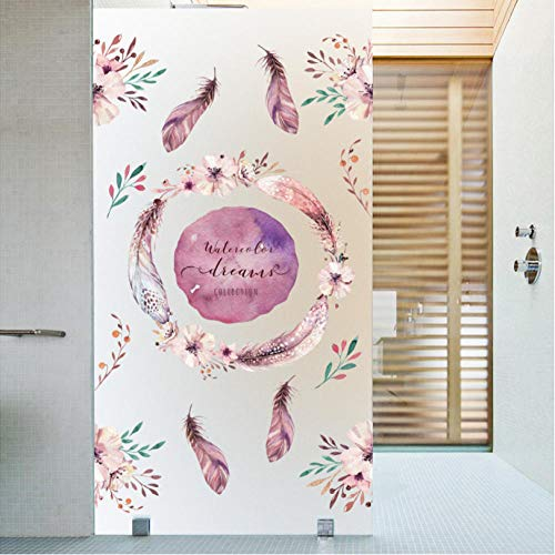 hhyyoo Colorful Flower Frosted Glass Stickers Home Decoration Bathroom Bathroom Balcony Glass Window Glass Easy to Disassemble Decals 60 X 100Cm
