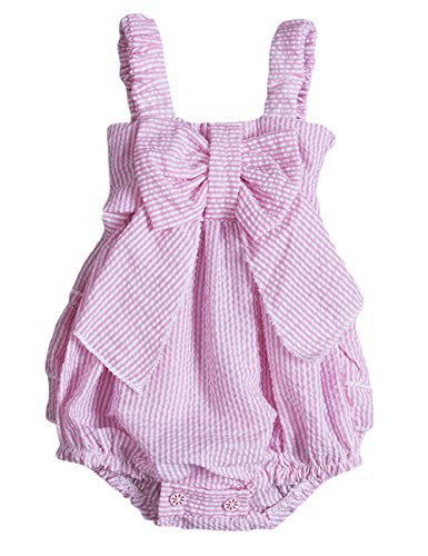Charm Kingdom Baby Girls Striped Seersucker Bubble Straps Ruffle Layers Bowknot Romper (90(12-18M)) Pink Striped Seersucker