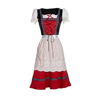 Juleya Womens Dirndl Dress - Lace-up Dress Traditional Oktoberfest Costume Midi Dress Fancy Dress Prom Dress - 3 Pieces:Dress, Shirt, Apron - Red S-4XL: ...