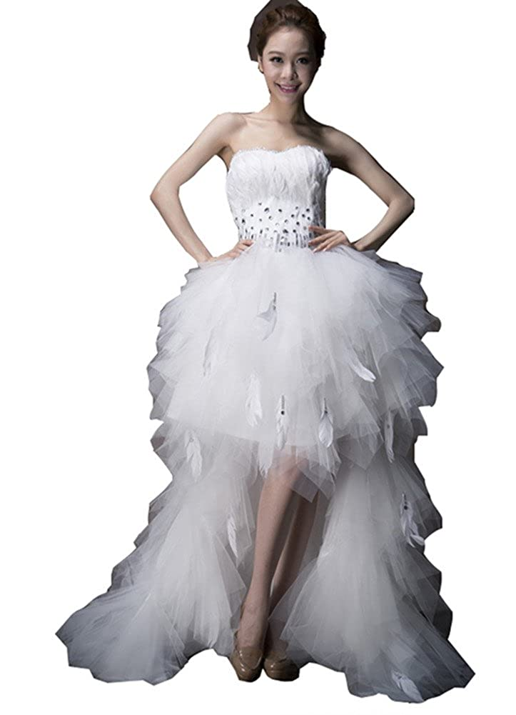 Snow Lotus Womens After Short Before Long Tail Feathers White