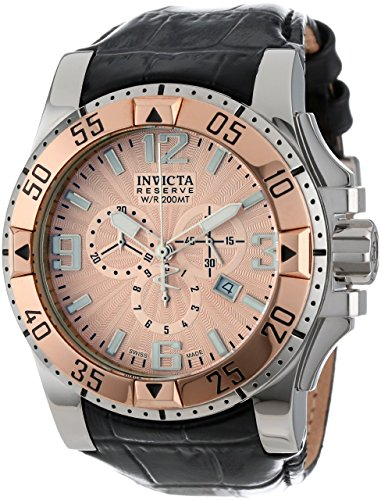 Excursion Black Dial (Invicta Men's 10901 Excursion Reserve Chronograph Rose Gold Tone Textured Dial Black Leather Watch)