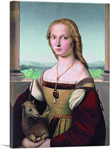 (ARTCANVAS Portrait of a Lady with a Unicorn 1506 Canvas Art Print by Raphael- 26