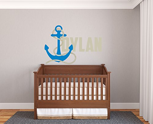 Custom Name Personalize Colors Anchor Nautic Sea Marine Nursery Kids Room Bedroom Wall Decal Sticker Vinyl (30x20(Medium))