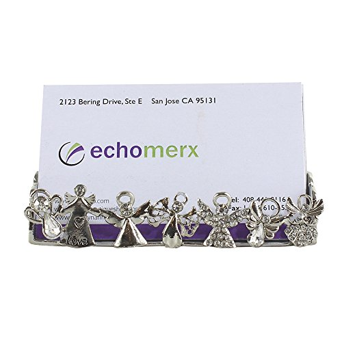 EchoMerx Loving Angel Business Card Holder Stand for Desk Organizer Bejeweled Silver Tone