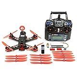 Qwinout 210 210mm Mini Quadcopter FPV Racer Drone RTF Full Set Combo with CC3D Racing Flight Control /800TVL COMS Camera /Mushroom Antenna/ 200mW Video TX / Flysky FS-i6 Remote - Red