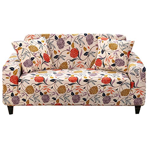 FORCHEER Printed Stretch Sofa Slipcover Spandex Big Pattern Couch Covers for Living Room Pets 1PC (Big Sofa, Flower #3) (Black Friday Ottoman)