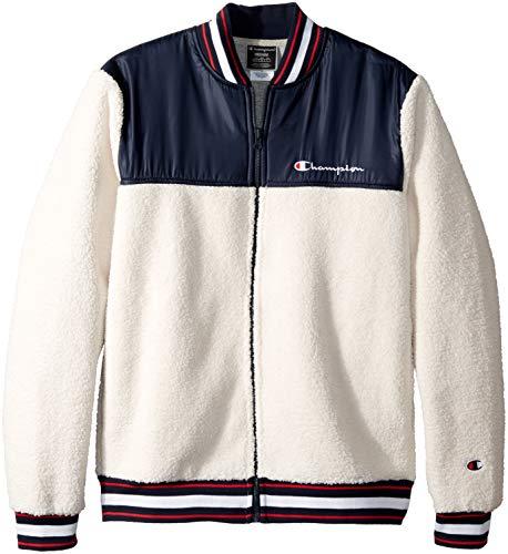 - Champion LIFE Men's Sherpa Baseball Jacket, Quartz Cream/Navy, Large