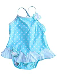 Baby Little Girls Swimsuits with Built-In Absorbent Swim Diapper Swimwears