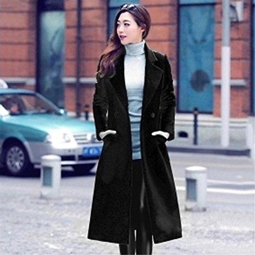 Lana Larga Negro Elegante Invierno Manga Longra Mujer Cárdigan Abrigo Fiesta Chaqueta Mujer outwear Prendas De Para chal Casual qxgHHT0w4X