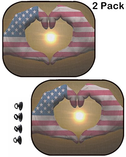 MSD Car Sun Shade Protector Side Window Block Damaging UV Rays Sunlight Heat for All Vehicles, 2 Pack Image ID: 11112258 Gesture Made by American Flag Colored Hands Showing Symbol of Heart ()