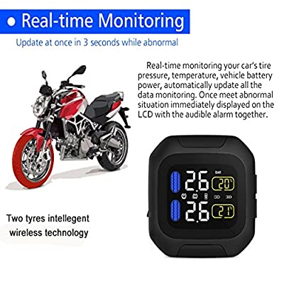 Mercu Wireless Digital Motorcycle Tire Pressure Gauge Monitoring System, Waterproof TPMS Digital LCD Display,Tire Pressure Gauge Monitoring System 2 Sensors for Motorcycle: Automotive
