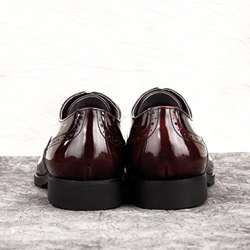 Marea para UK5 5 Punta Estilo Piel Cuero de en Rojo Zapatos Británico Clásicos Color Negocios EU38 Tamaño para Hombres Hombre Vino de Negro Casual Zapatos pq8Zw1q