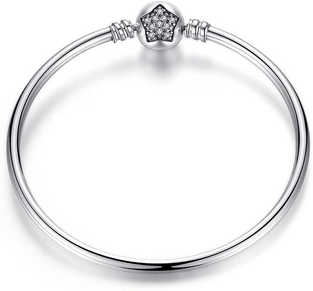 Missy Jewels Pulsera Mujer para Charms Tipo Pandora 100% Plata de Ley, Fabricada en España, Cierre Barril con Circonitas…