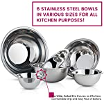 Premium Stainless Steel Mixing Bowls (Set of 6) Brushed Stainless Steel Mixing Bowl Set - Easy To Clean, Nesting Bowls for Space Saving Storage, Great for Cooking, Baking, Prepping 9 SIZED for EVERY TASKS - with range of 6-Sizes ¾, 1.5, 3, 4, 5 and 8 quart metal mixing bowls adds versatility and functionality to your kitchen, for all-purpose kitchen workhorses from prepping, mixing, stirring, to kneading dough like a pro. QUALITY STAINLESS STEEL - features an attractive brushed finish, for an elegant look enhancing your kitchen tools, these metal bowl set are easy to clean, as well as odor, stain and taste resistant. DURABLE yet LIGHTWEIGHT - Our lightweight stainless-steel bowls; ideal for everyday tasks, are made from freezer- and dishwasher-safe, durable shatterproof materials, to last a lifetime.