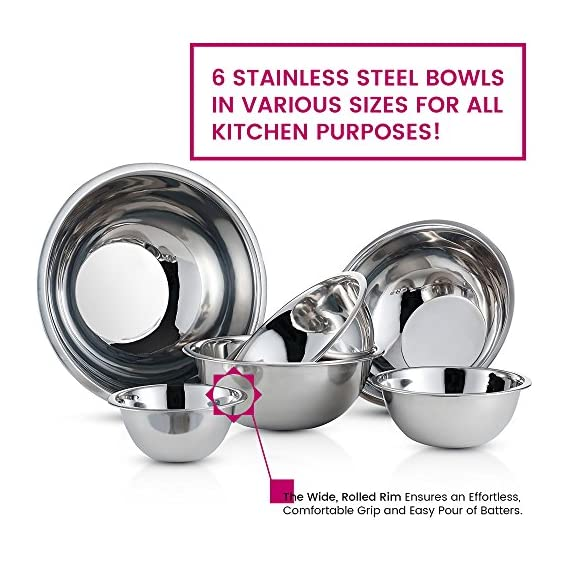 Premium Stainless Steel Mixing Bowls (Set of 6) Brushed Stainless Steel Mixing Bowl Set - Easy To Clean, Nesting Bowls for Space Saving Storage, Great for Cooking, Baking, Prepping 2 SIZED for EVERY TASKS - with range of 6-Sizes ¾, 1.5, 3, 4, 5 and 8 quart metal mixing bowls adds versatility and functionality to your kitchen, for all-purpose kitchen workhorses from prepping, mixing, stirring, to kneading dough like a pro. QUALITY STAINLESS STEEL - features an attractive brushed finish, for an elegant look enhancing your kitchen tools, these metal bowl set are easy to clean, as well as odor, stain and taste resistant. DURABLE yet LIGHTWEIGHT - Our lightweight stainless-steel bowls; ideal for everyday tasks, are made from freezer- and dishwasher-safe, durable shatterproof materials, to last a lifetime.