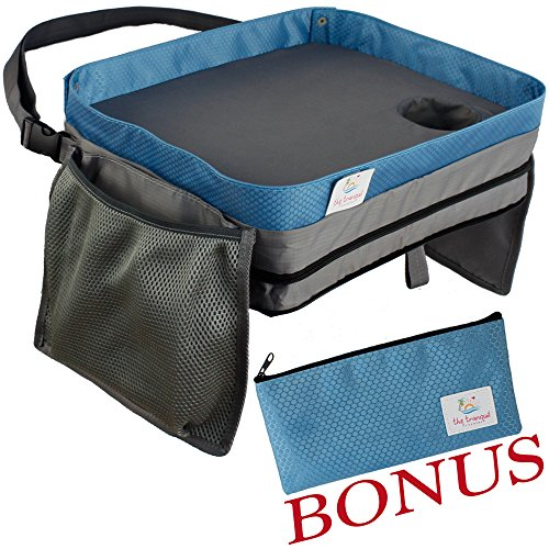 Kids Travel Tray Soft Car Lap Desk | Bonus Pencil Case | Portable Table for Activities and Eating Snacks | Durable Waterproof Doubles as Carrying Bag or Backpack | Fits Toddler Carseat or Booster Seat