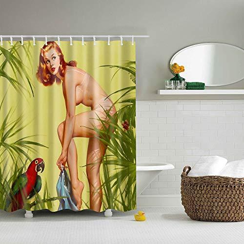 Shower Curtain for Bathroom, Mildew Resistant Waterproof Digital Printing Polyester Fabric Curtains with Hooks,70.86 Inch ()