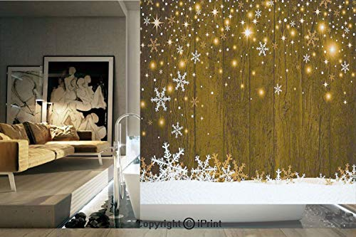 (Decorative Privacy Window Film/Rustic Wooden Backdrop with Snowflakes and Warm Traditional Celebration Print Decorative/No-Glue Self Static Cling for Home Bedroom Bathroom Kitchen Office Decor Gold Wh)