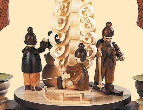 1-tier German Christmas Pyramid - Children in winter - 28 cm / 11 inch - Müller Kleinkunst