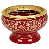 Decorated Brass Charcoal Screen Incense Burner Red