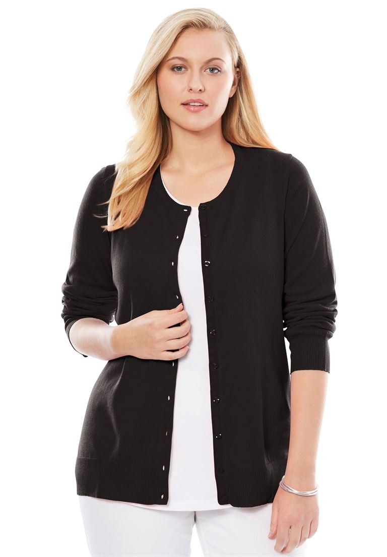 Jessica London Women's Plus Size Fine Gauge Cardigan Black,18/20