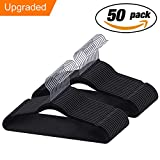 IEOKE Velvet Hangers, Non slip Clothes Hangers Heavy Duty 360 Swivel Hanger Hook Ultra Thin Clothes Racks Perfect for Space Saving (50 PACK) (Black-N-50)